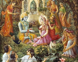 Krishna meets with Radha and the Gopis