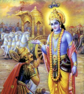 Krishna talks to Arjuna