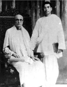 young Prabhupad and Bhaktisiddhanta Sarasvati
